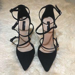 Topshop 3 Strap Black Suede Heels